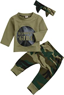 Younger star Baby Girls Camouflage Printed T-Shirt and Long Pants Outfit Set