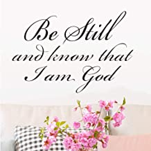Be Still and Know That I am God Religious Wall Quotes Arts Sayings Vinyl Decals Bible Scripture Sticker Quote Verse Home Décor Art Saying PVC Stickers