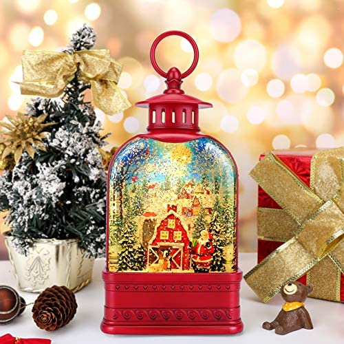 CaiFang Christmas Lighted Snow Globe Lantern 6H Timer Musical Water Snow Globes USB Powered product image