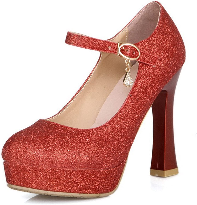 BalaMasa Womens Buckle High Heels Solid Pumps shoes