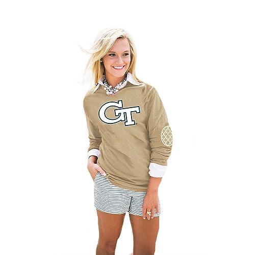 e3aeb344a Gameday Couture NCAA Georgia Tech Womens Puff Print Elbow Patch Long Sleeve  Alternate, Medium,