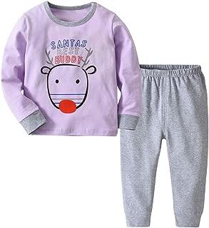 URMOSTIN Toddler Christmas Pyjamas Set Animal Printed Nightwear for Infant Baby Boys Girls Organic Cotton Loungewear Nightclothes Winter Long Sleeve PJs 2 Piece Outfit Xmas Gift for Kids