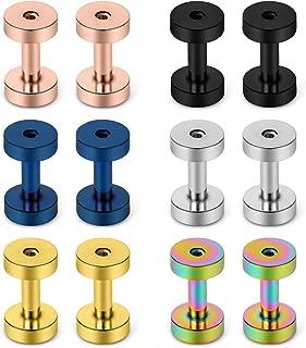 Screw Fit Ear Gauges Kit Surgical Steel Tunnel Expander Earrings Earlobe Plugs Body Piercing Jewelry Set for Women Men 14G-00G 12 Pieces