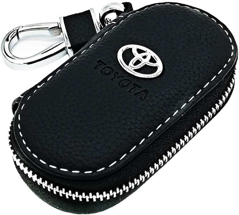 VILLSION Universal Car Key Holder Genuine Leather Case with Stainless Steel Hook Remote Key Fob Case with Metal Zipper Keychain Suit for Men Women Black