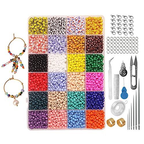 MOPOIN Abalorios para Hacer Pulseras, 17000 PiezasCuentas de Colores Mini Cuentas de Cristal para Hacer Pulseras, Collar, DIY (24 Colores, 4 mm)