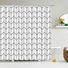 JMHX Geometric Pattern Shower Curtains Waterproof Modern Simplicity Bath Curtain 3D Printed Bathroom Curtain Bath Screen