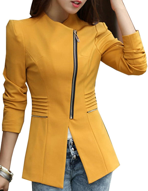 Meykiss Womens Asymmetric Inclined Zipper Design Slim Fit Suit
