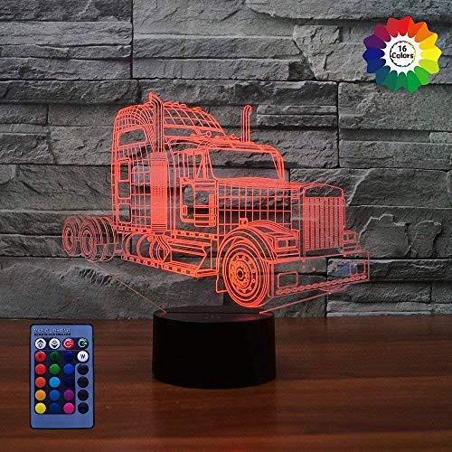 3D Camion LED Lampe Art Déco Lampe lumières LED Décoration lumières Contrôle à distance 7/16 couleurs Change Alimenté par USB Enfants Cadeau Anniversaire Noël Cadeau