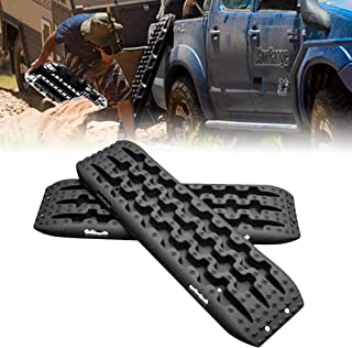 FLARESTAR Recovery Track, Rocovery Traction Mats for Off-Road Mud, Sand, Snow Vehicle Extraction (Set of 2), Black