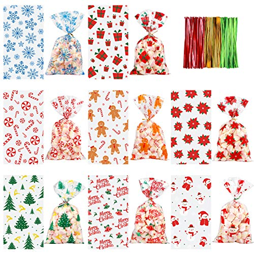 WXBOOM 240 Pieces Christmas Cellophane Bags Cello Bags Gift Bags Candy Treat Bags for Party Supplies, Cookies and Goodie