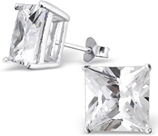 925 Sterling Silver 10mm Square Crystal CZ Stud Earrings 794 3699