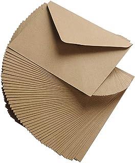 YOTINO 50Pcs Sobres Kraft 130 Gramos Papel Kraft Natural para Sobres de Felicitaciones e Invitaciones (114 x 162 mm)