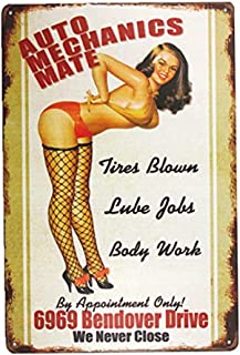 INNAPER AUTO Mechanics Mate Sign Garage Signs for Men Home Decor pin up Poster House Rules Wall Art Decor (M0034)