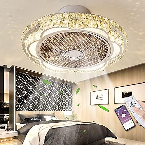 Cristal Ventilador De Techo Con Iluminación LED Luz De Techo Con Ventilador Regulable De 3 Velocidades De Viento Con Control Remoto Luz De Ventilador Dormitorio Sala De Estar Sala De Niños Comedor