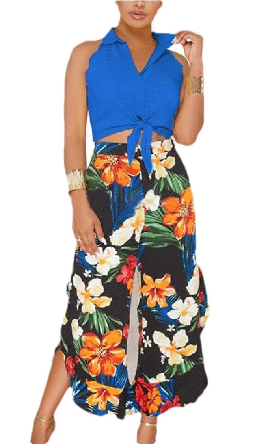 カリキュラム圧力カタログWomen's 2 Pieces Outfit Floral Sleeveless Crop Top Palazzo High Waist Wide Leg Long Pants