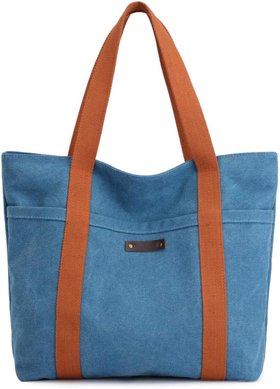 QINJLI Lady Single Shoulder Bag, Canvas Casual Simple Large Capacity tot Handbag 32  12  32cm