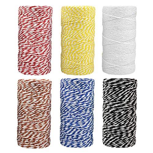 Tebery set van 6 kleuren katoen bakker snoer snoer glas fles geschenkdoos decor craft (bruin, rood, geel, zwart, groen, wit)