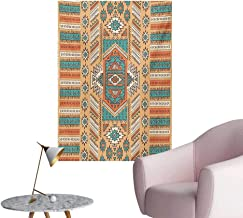 Anzhutwelve Tribal Art Decor Decals Stickers Ethnic Aztec Secret Tribe Pattern in Native American Bohemian StyleApricot Orange and Teal W24 xL36 The Office Poster