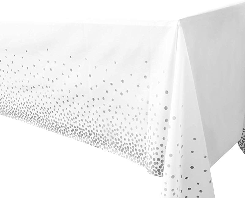 Plastic Tablecloths For Rectangle Tables 4 Pack Silver Dot Confetti Party Table Cloths Disposable Rectangular Table Covers For Parties Thanksgiving Christmas Wedding Anniversary 54 X 108