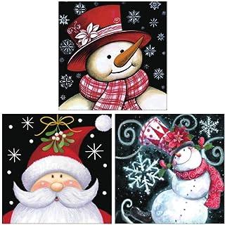 Santa Claus and Snowman Diamond Painting Kit - pigpigboss 3 Pack 5D Diamond Painting Kits Full Rhinestone Diamond Painting...