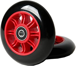 FREEDARE Scooter Wheels 100mm for Scooter Replacement Wheels with Bearings (Pack of 2,Red)