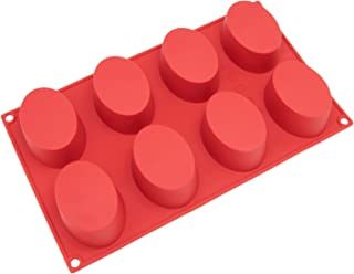 Freshware SL-118RD 8-Cavity Oval Silicone Mold for Soap 8-Cavity Red FBA-|230062