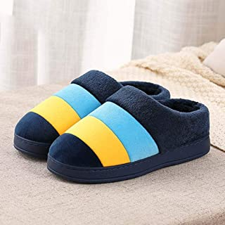 Men's Cotton Slippers Indoor Female Bag with Extra-Large Size Thick Bottom Warm Non-Slip Couple Slippers,38—39