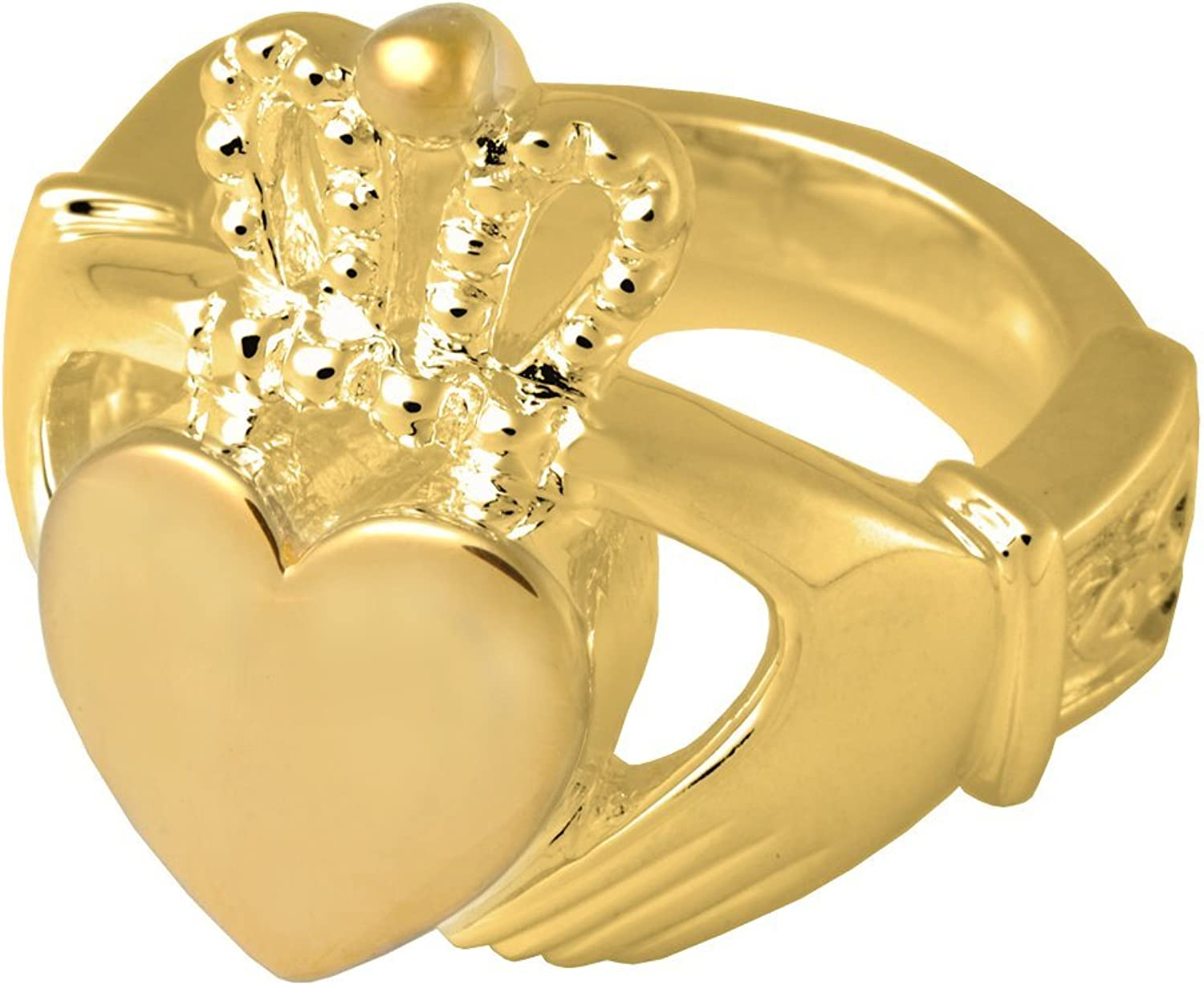 Memorial Gallery 2015GP11 Claddagh Ring 14K gold Sterling Silver Plating Cremation Pet Jewelry, Size 11