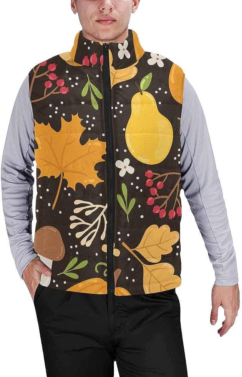 InterestPrint Men's Winter Lightweight Sleeveless Padded Vest Berries, Flowers and Leaves