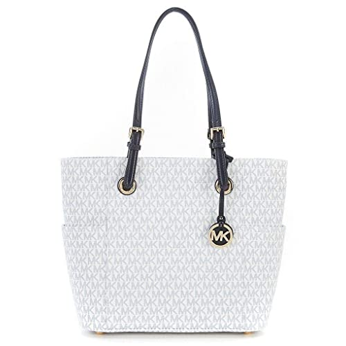 208e751d6812 Michael Kors Women s Jet Set Travel Small Logo Tote Bag (Optic White Navy)