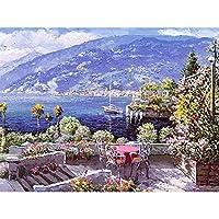 油絵 数字キット 油絵 数字ト ホリデーギフト、誕生日ギフト 40x50センチ フレームレスハーバーチェア