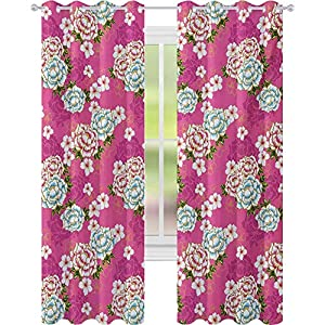 Crib Bedding And Baby Bedding Blackout Curtains For Bedroom, Vivid Botanical Pattern From Taiwan Hakka Culture With Peony And Hibiscus, Window Curtain Panel For Bedroom, Pink Blue Green