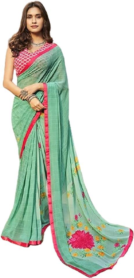 Pastel Green Indian Woman fancy Printed Georgette Sari Designer Summer Soft Saree Contrast Blouse 6221