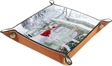 HOHOHAHA Plateau à rouler pliable en cuir PU pour ranger des montres, des bijoux, un sapin de Noël et de la neige d'hiver