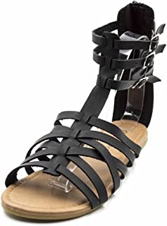 Charles Albert Free Reign Women's Back Zip Buckle Gladiator Strappy Vegan Leather Sandal (Wide Width)