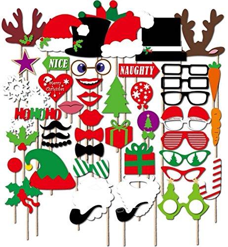thematys Weihnachten Deko Fotobox - Photo Booth Foto-Requisiten & Foto-Accessoires - für witzige & unvergessliche Bilder - 50-teilig