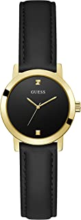 GUESS Women's Stainless Steel Quartz Watch with Leather Strap, Black, 12 (Model: GW0246L3)