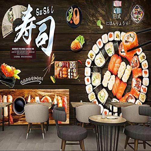 XLXBH 3D muurschildering zelf-klevend behang (B) 400 ×(H) 280 cm 3D fotobehang Japanse sushi restaurant achtergrond koffiehuis keuken behang wandschilderij behang, kinderkamer kantoor eetkamer woonkamer decoratie