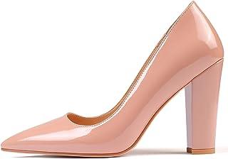 "Eldof Women's Pointed Toe Pumps 4"" Chunky Block Heels Comfort High Heel Pumps Dress Shoes Biege US9"