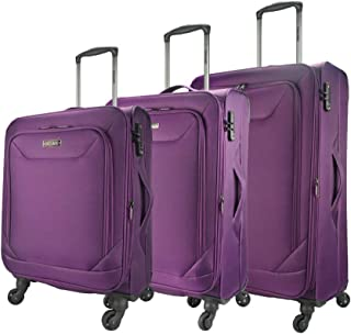 Eaglemate 3pc Luggage Set Suitcase Trolley Carry On Soft Lightweight Luggage Set (Purple)