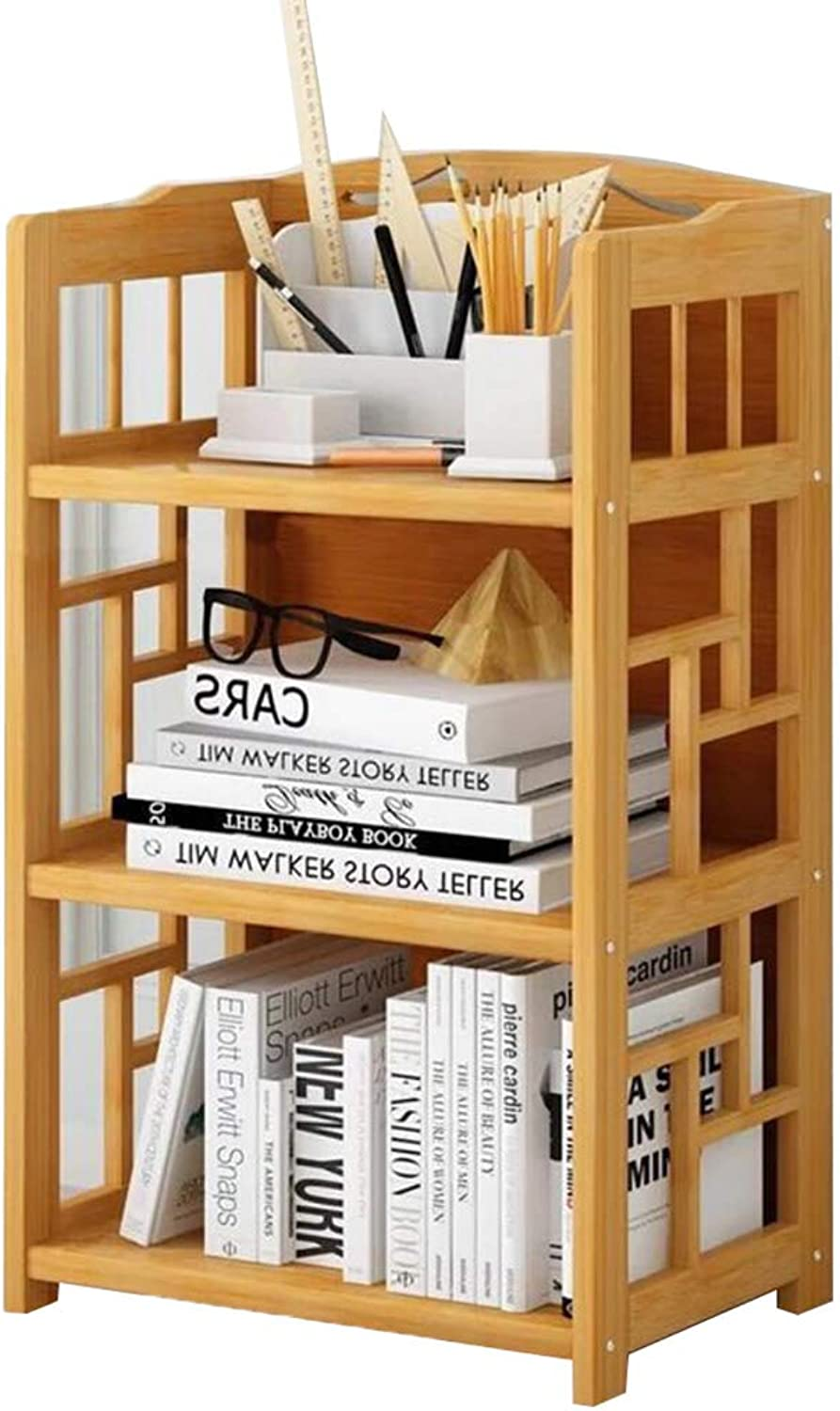GWM Shelf Bookshelf, Floor Students Home Simple Bookcase Assembled Bamboo and Wooden Racks Three Floors (Size   50  25  80cm)