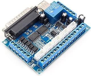 Funnyrunstore 5 Ejes CNC Breakout Board Controlador de Motor Paso a Paso MACH3 Controlador de módulo de Control de Puerto Paralelo con acoplador óptico Cable USB