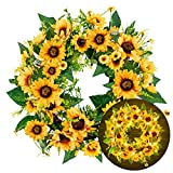 FUNPENY 18 Inch 40LED Pre-lit Sunflower Wreath with Lights, Artificial Spring Summer Wreath Decorations for Front Door, Indoor Outdoor,Farmhouse,Windows,Bedroom,Living Room Fireplace Decor