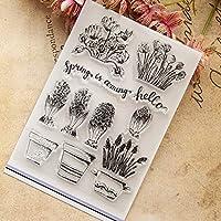 植木鉢と花シール用透明クリアシリコンスタンプDIYスクラップブッキングポーアルバム装飾クリアスタンプ
