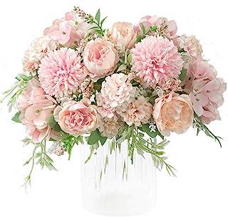 KIRIFLY Artificial Flowers, Fake Peony Silk Hydrangea Bouquet Decor Plastic Carnations Realistic Flower Arrangements Weddi...