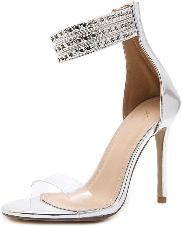 Quality.A Metallic Chain Stiletto Summer Women's Sandals Back Zipper high Heels Ribbon