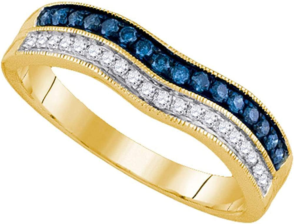 Dazzlingrock Collection 14kt Yellow Gold Womens Round Blue Color Enhanced Diamond Band Ring 1/4 ctw