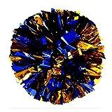 PUZINE 2pack 12' Cheerleading Metallic Foil & Plastic Ring Pom Poms Cheerleading Poms (80g) (Blue with Gold)