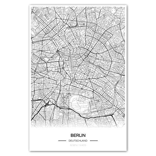 Zulumaps Poster 30x45cm Stadtplan Berlin - hochwertiger Kunstdruck