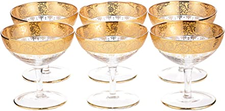 Almarjan Glass Deluxe 100ml Multi-purpose Cups Set, 6 Pieces, Clear and Gold
